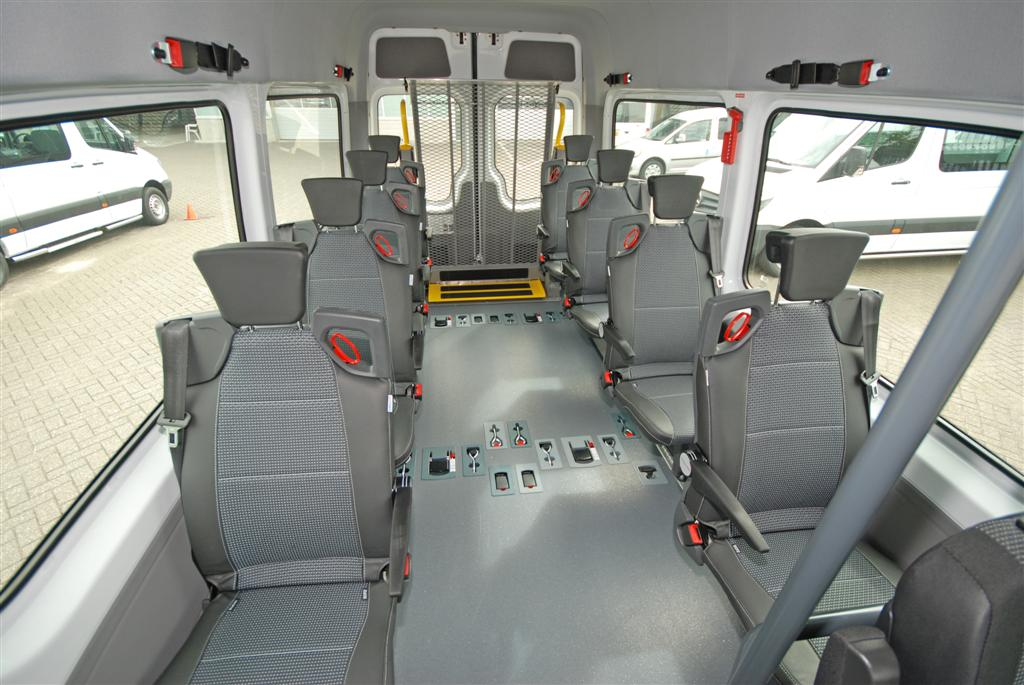TriflexAIR seats mounted on a TriflexAIR floor with integrated wheelchair restraint system.